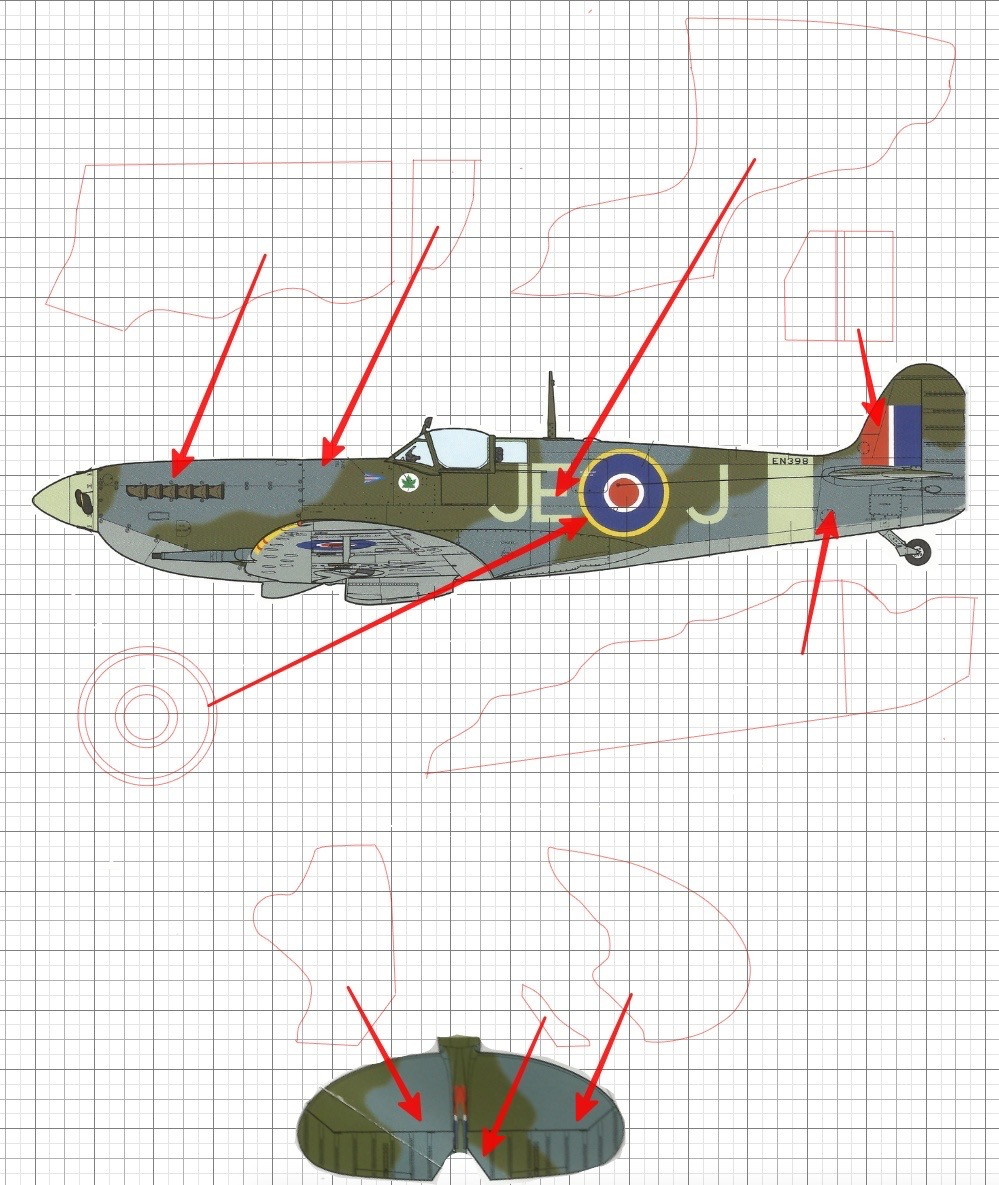Camouflage and insignia masks for Mk IX Spitfire